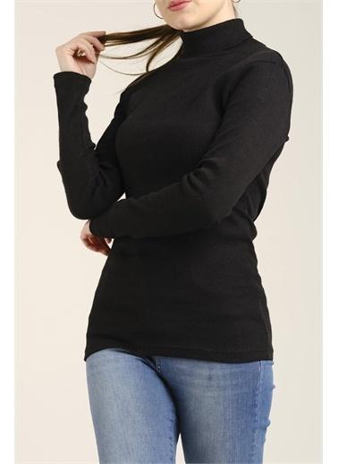 Oksit Janeth Kadın Boğazlı Triko Siyah